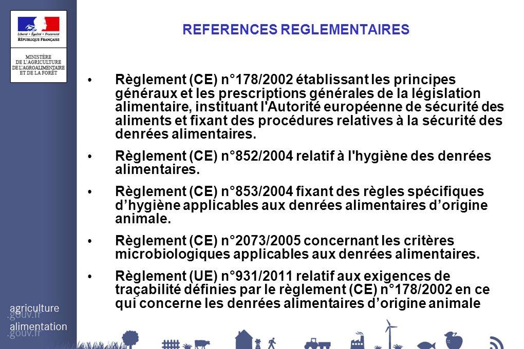 REFERENCES REGLEMENTAIRES Règlement (CE) n°178/2002 établissant les principes généraux et les prescriptions générales de la législation alimentaire, i