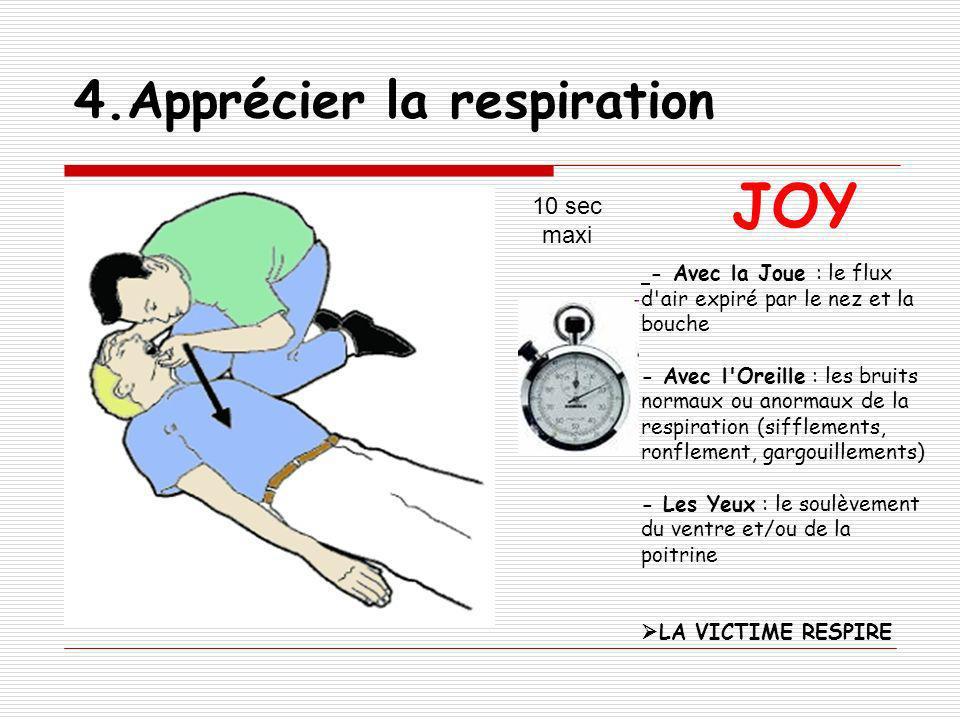 4.Apprécier la respiration 10 sec maxi JOY - Avec la Joue : le flux d'air expiré par le nez et la bouche - Avec l'Oreille : les bruits normaux ou anor
