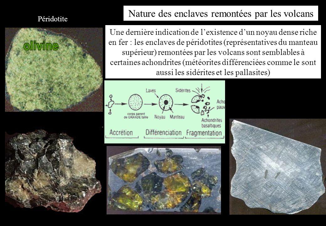 Une dernière indication de lexistence dun noyau dense riche en fer : les enclaves de péridotites (représentatives du manteau supérieur) remontées par