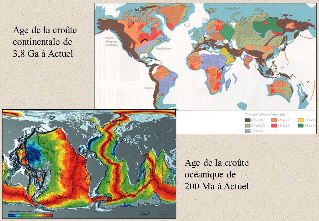 Sur les continents, les roches les plus anciennes constituent les cratons.