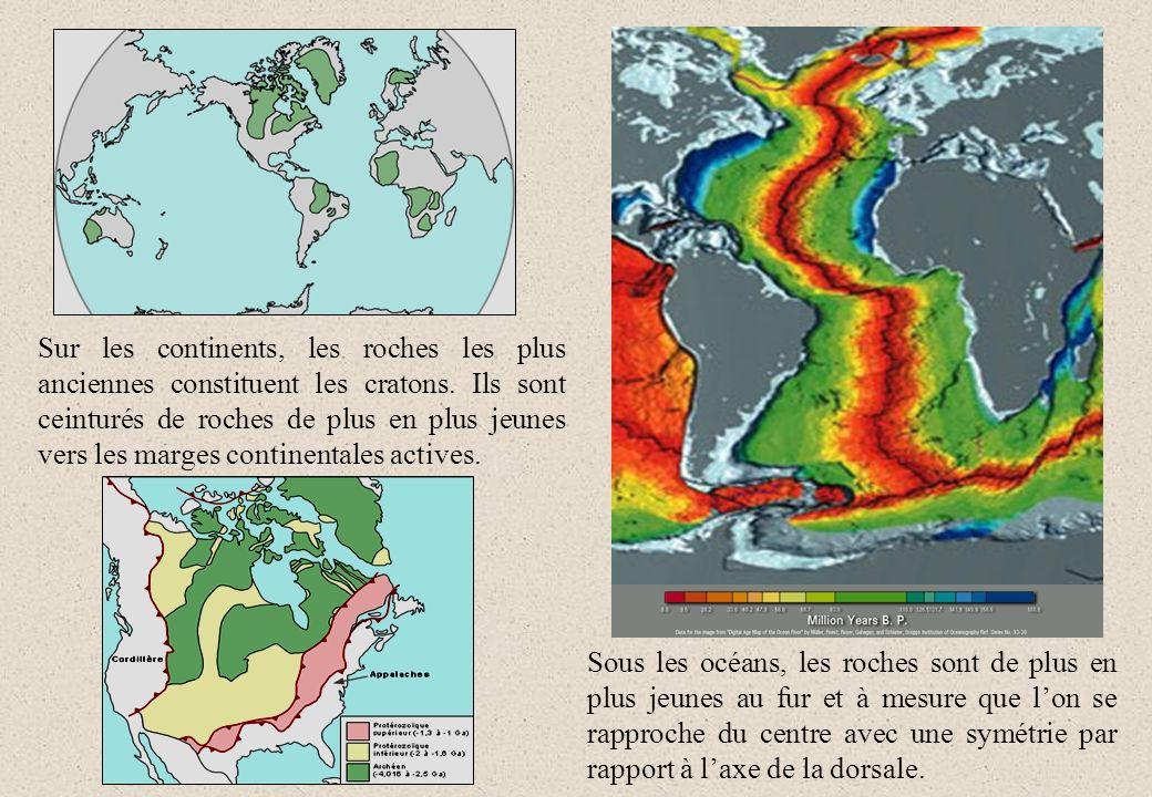 Sur les continents, les roches les plus anciennes constituent les cratons. Ils sont ceinturés de roches de plus en plus jeunes vers les marges contine