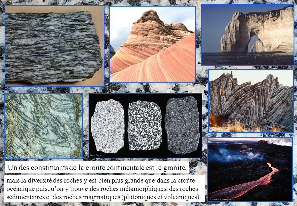 mais la diversité des roches y est bien plus grande que dans la croûte océanique puisquon y trouve des roches métamorphiques, des roches sédimentaires