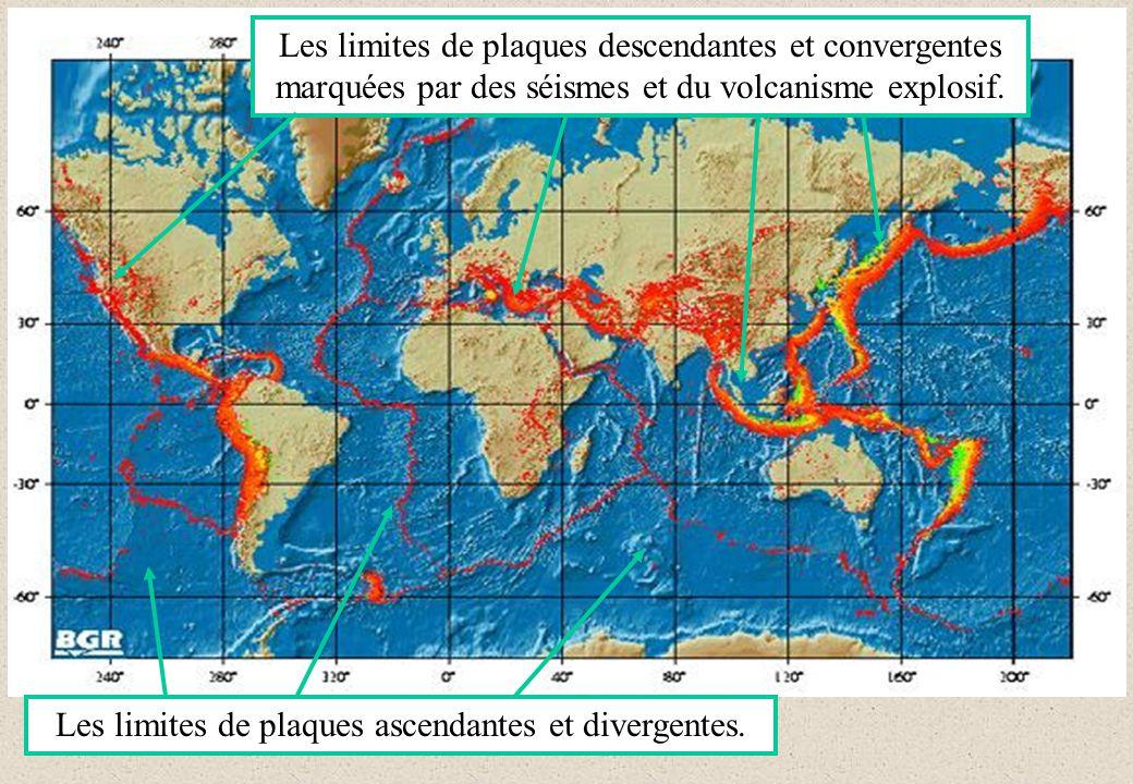 Les limites de plaques ascendantes et divergentes. Les limites de plaques descendantes et convergentes marquées par des séismes et du volcanisme explo