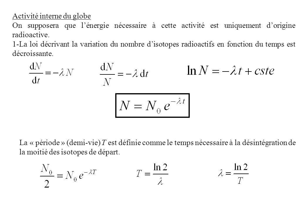 2-La réaction de désintégration libère une énergie E qui est une fonction de lécart de masse et de la vitesse de la lumière (c=3.10 8 ms -1 ): E= mc 2 Déterminer, en Joule lénergie produite par chaque réaction de désintégration des isotopes radioactifs donnés dans le tableau ci-dessous (1 uma = 1.67.10 -27 kg).