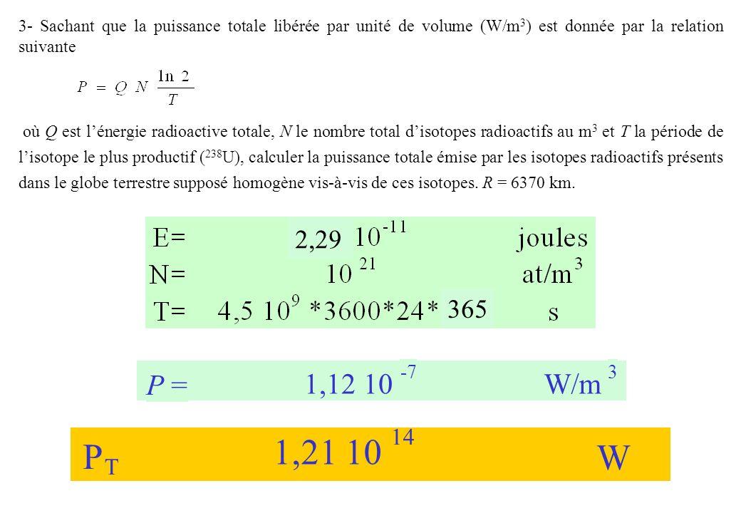 3- Sachant que la puissance totale libérée par unité de volume (W/m 3 ) est donnée par la relation suivante où Q est lénergie radioactive totale, N le