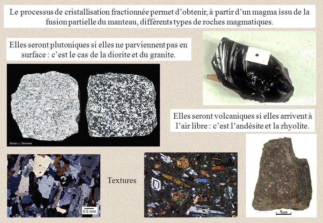 Le processus de cristallisation fractionnée permet dobtenir, à partir dun magma issu de la fusion partielle du manteau, différents types de roches mag