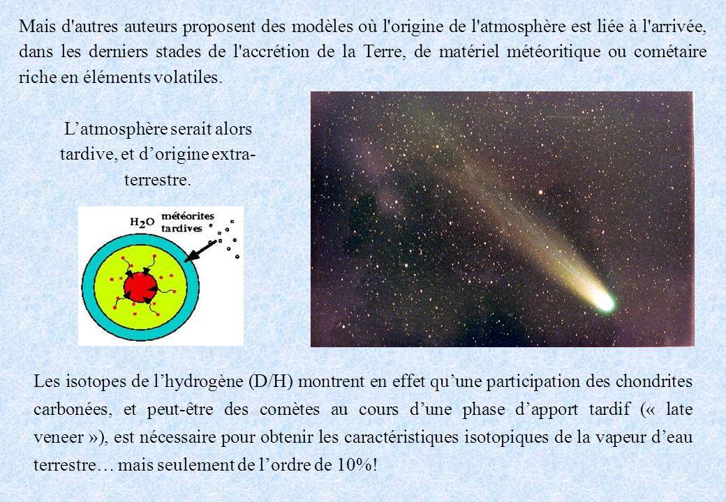 Les isotopes de lhydrogène (D/H) montrent en effet quune participation des chondrites carbonées, et peut-être des comètes au cours dune phase dapport