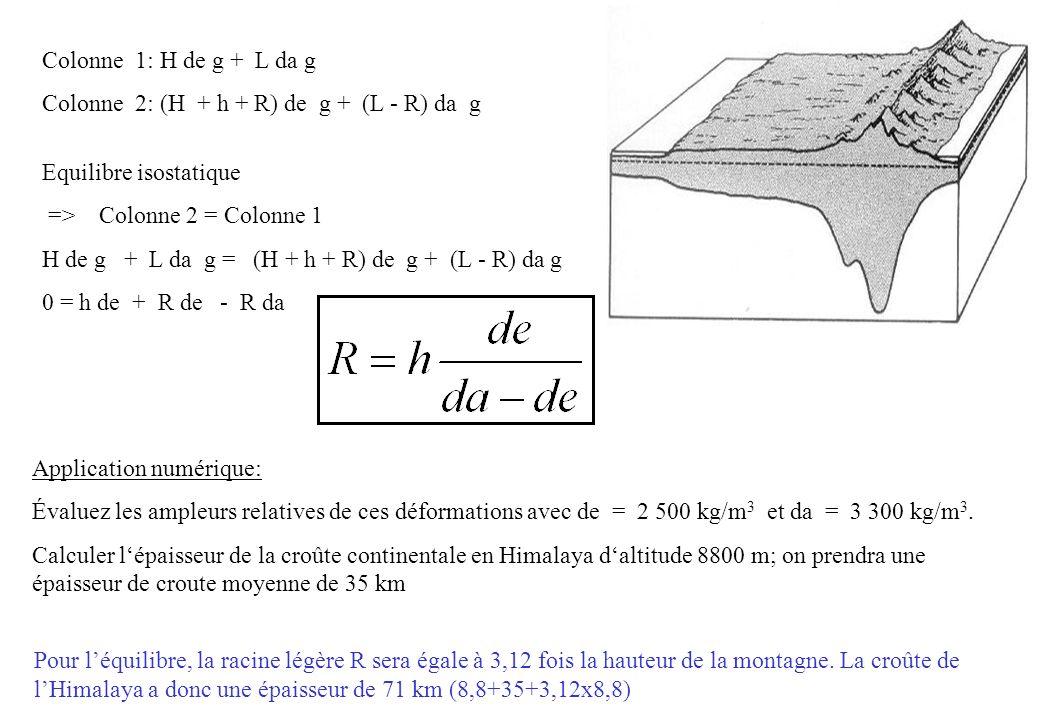 calcul dérosion : En reprenant les données de la question précédente(de=2500 kg/m 3 et da=3300kg/m 3 ), considérons la colonne montagne.