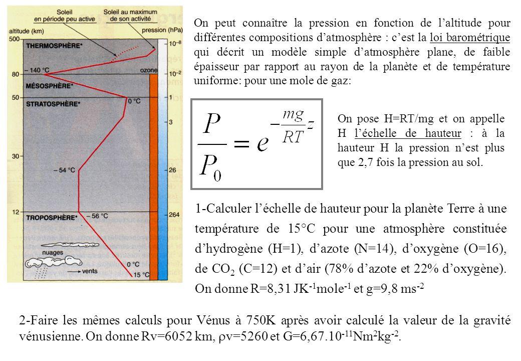 1-Calculer léchelle de hauteur pour la planète Terre à une température de 15°C pour une atmosphère constituée dhydrogène (H=1), dazote (N=14), doxygène (O=16), de CO 2 (C=12) et dair (78% dazote et 22% doxygène).