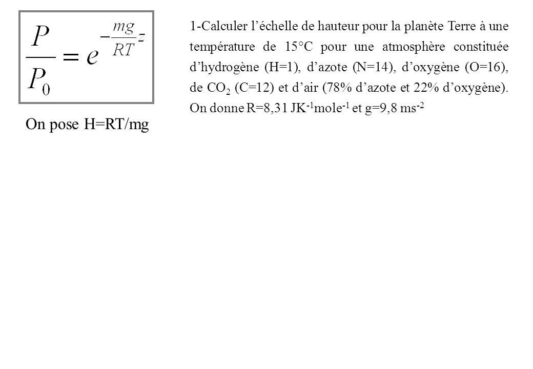 Energie cinétique : E c =1/2 mv 2 Energie potentielle : Ep=mgz=mgR=mMG/R car g=MG/R 2 En écrivant légalité de lénergie cinétique et de lénergie potentielle de la pesanteur dune molécule de gaz de masse m, déterminer la vitesse de libération de la Terre ( =5,52 et R=6370 km)pour lhydrogène (H=1) et loxygène (O=16).