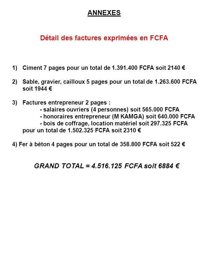 ANNEXES Détail des factures exprimées en FCFA 1)Ciment 7 pages pour un total de 1.391.400 FCFA soit 2140 2)Sable, gravier, cailloux 5 pages pour un to