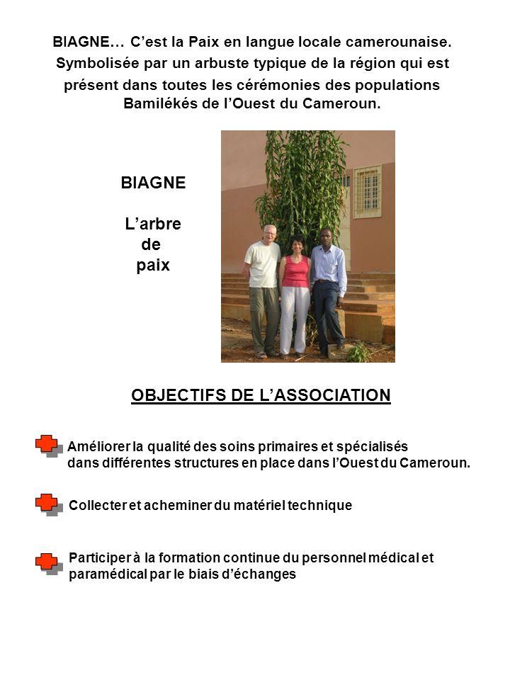 OBJECTIFS DE LASSOCIATION Améliorer la qualité des soins primaires et spécialisés dans différentes structures en place dans lOuest du Cameroun. Collec