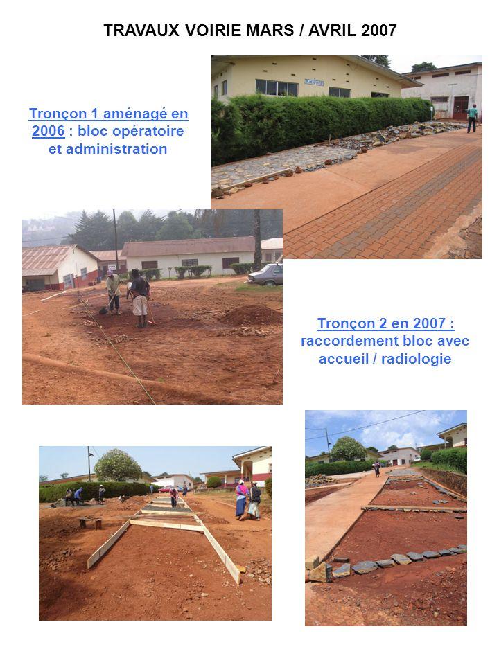 TRAVAUX VOIRIE MARS / AVRIL 2007 Tronçon 1 aménagé en 2006 : bloc opératoire et administration Tronçon 2 en 2007 : raccordement bloc avec accueil / ra