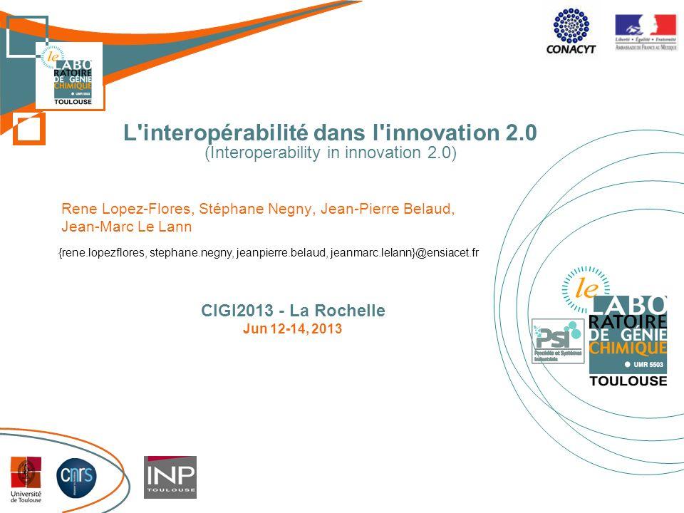 L'interopérabilité dans l'innovation 2.0 (Interoperability in innovation 2.0) Rene Lopez-Flores, Stéphane Negny, Jean-Pierre Belaud, Jean-Marc Le Lann