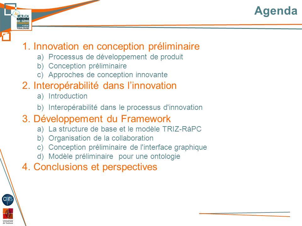 3 Agenda 1.Innovation en conception préliminaire a)Processus de développement de produit b)Conception préliminaire c)Approches de conception innovante