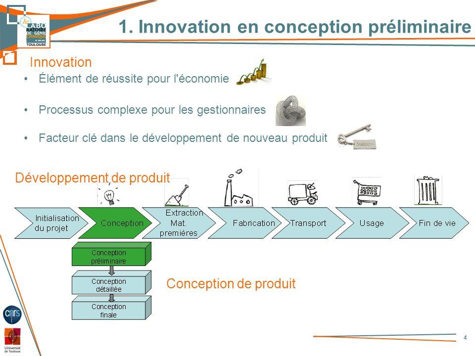 1. Innovation en conception préliminaire 4 Développement de produit Conception de produit Innovation Élément de réussite pour l'économie Processus com