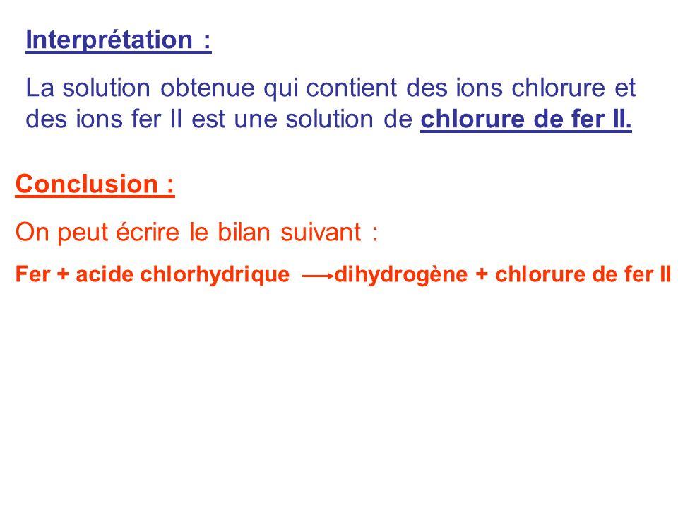 Interprétation : La solution obtenue qui contient des ions chlorure et des ions fer II est une solution de chlorure de fer II. Conclusion : On peut éc