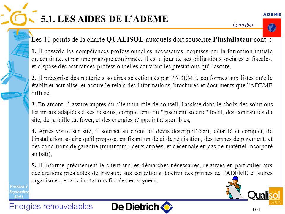 Version 2 Septembre 2001 101 Les 10 points de la charte QUALISOL auxquels doit souscrire linstallateur sont : 1. Il possède les compétences profession