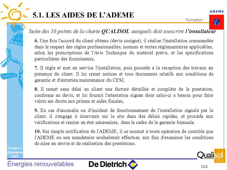 Version 2 Septembre 2001 102 6. Une fois l'accord du client obtenu (devis cosigné), il réalise l'installation commandée dans le respect des règles pro
