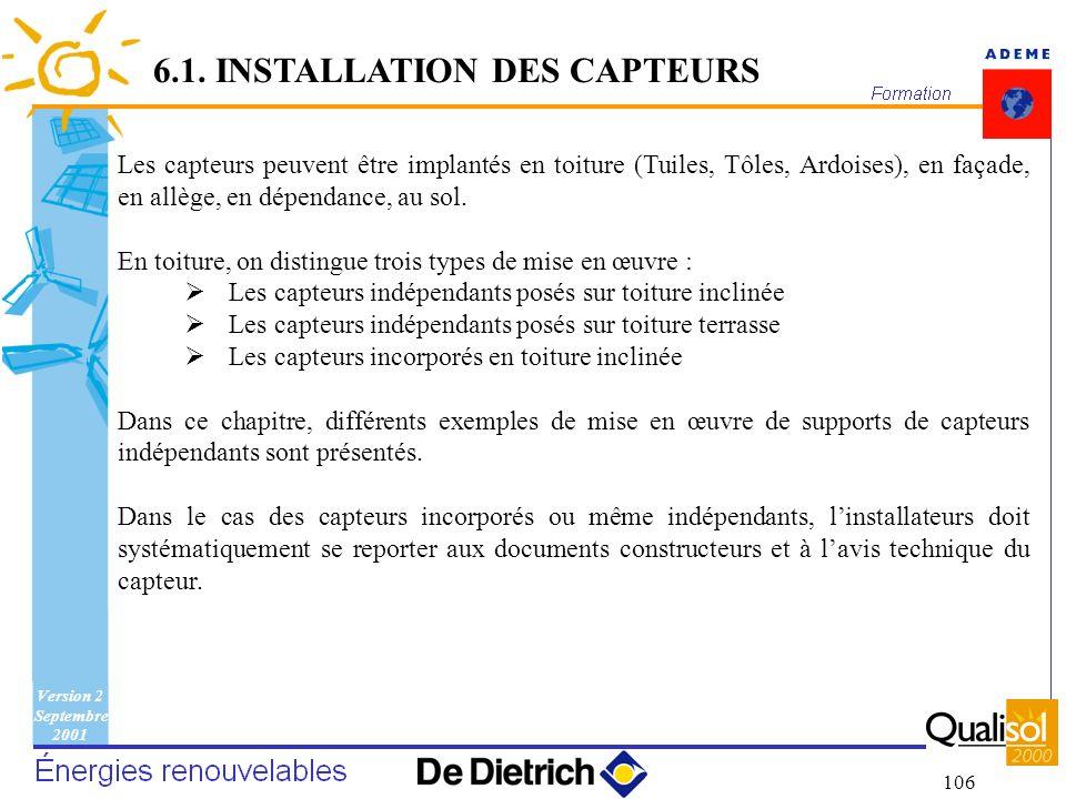 Version 2 Septembre 2001 106 Les capteurs peuvent être implantés en toiture (Tuiles, Tôles, Ardoises), en façade, en allège, en dépendance, au sol. En