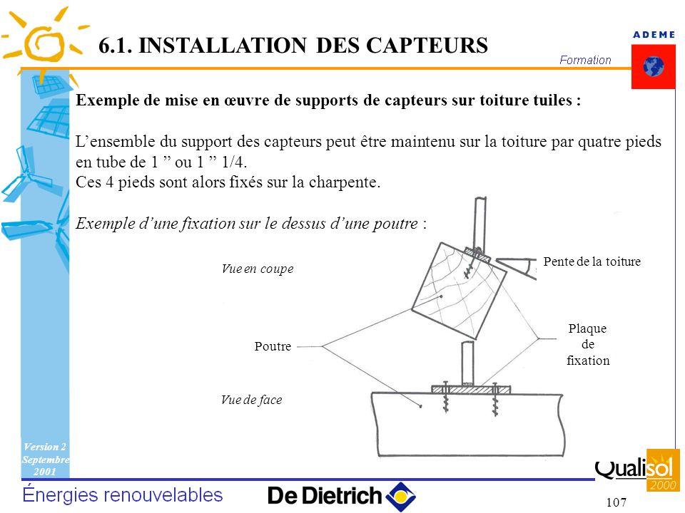 Version 2 Septembre 2001 107 Poutre Plaque de fixation Pente de la toiture Vue en coupe Vue de face 6.1. INSTALLATION DES CAPTEURS Exemple de mise en