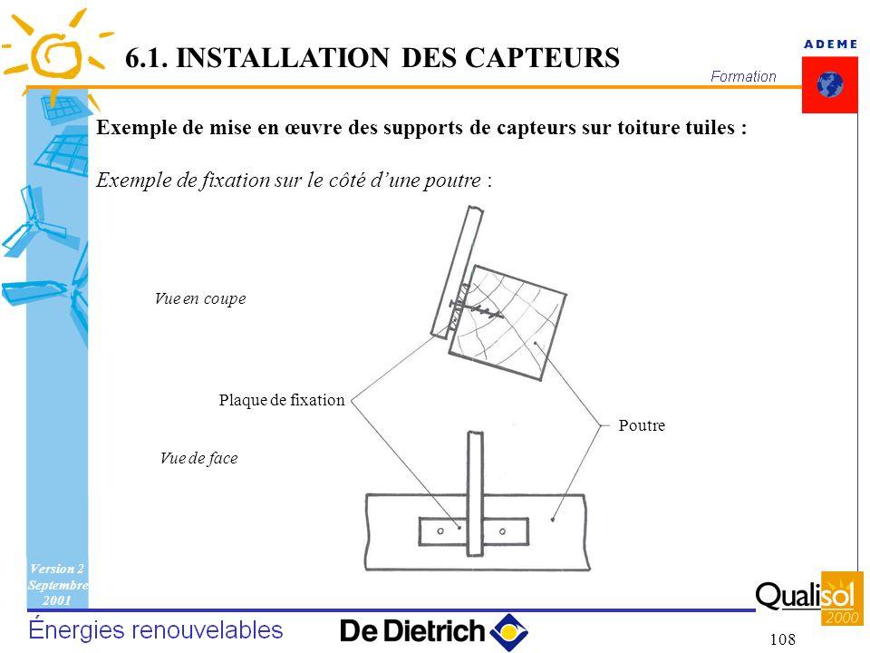 Version 2 Septembre 2001 108 6.1. INSTALLATION DES CAPTEURS Exemple de mise en œuvre des supports de capteurs sur toiture tuiles : Exemple de fixation