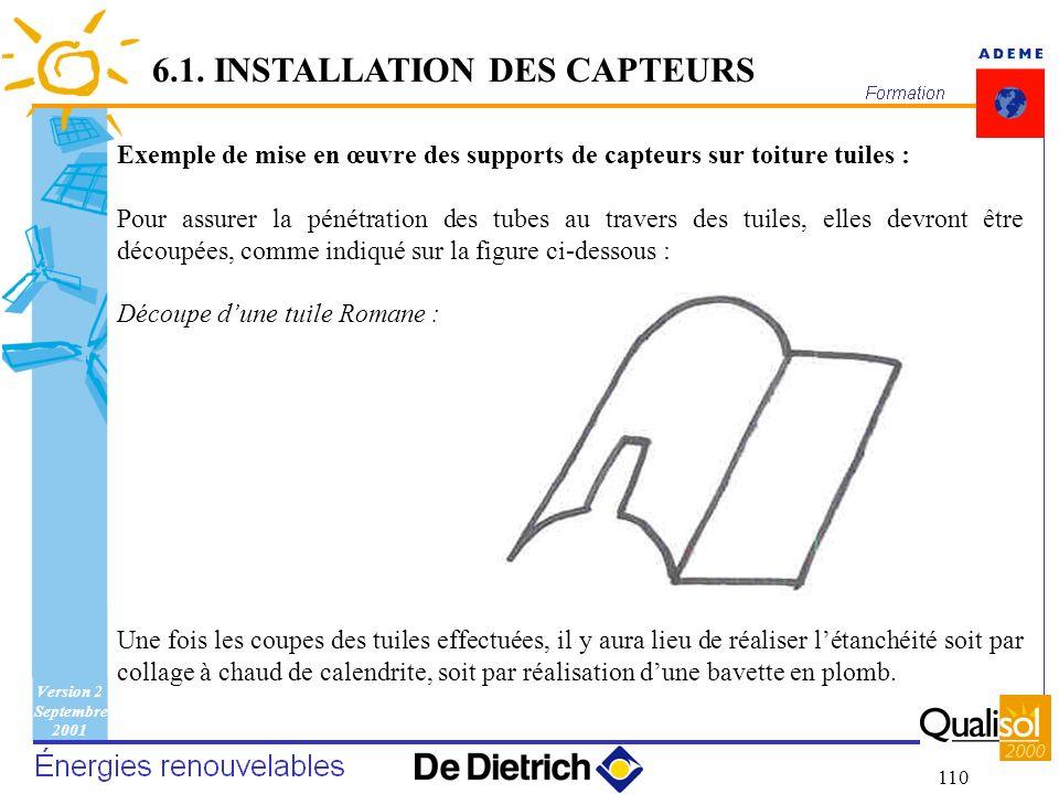 Version 2 Septembre 2001 110 6.1. INSTALLATION DES CAPTEURS Exemple de mise en œuvre des supports de capteurs sur toiture tuiles : Pour assurer la pén