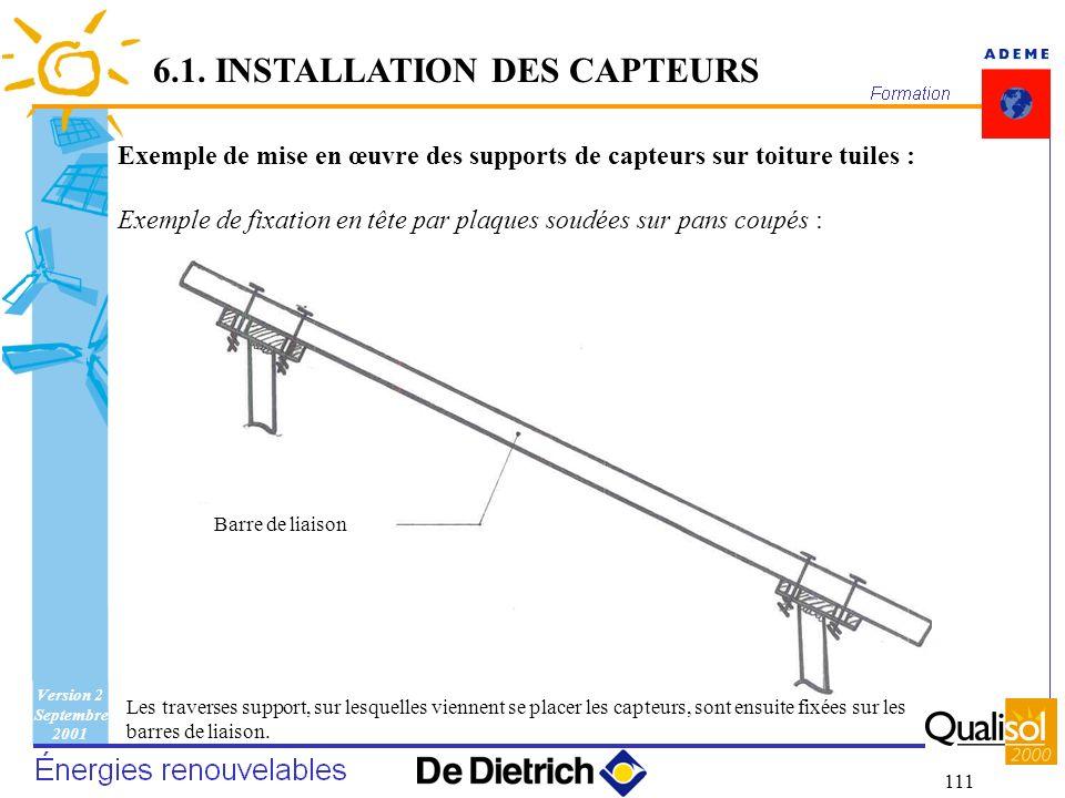 Version 2 Septembre 2001 111 6.1. INSTALLATION DES CAPTEURS Exemple de mise en œuvre des supports de capteurs sur toiture tuiles : Exemple de fixation