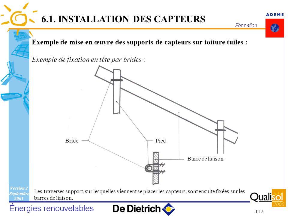 Version 2 Septembre 2001 112 6.1. INSTALLATION DES CAPTEURS Exemple de mise en œuvre des supports de capteurs sur toiture tuiles : Exemple de fixation