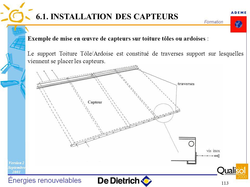Version 2 Septembre 2001 113 Exemple de mise en œuvre de capteurs sur toiture tôles ou ardoises : Le support Toiture Tôle/Ardoise est constitué de tra