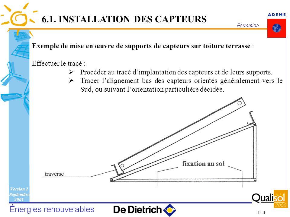 Version 2 Septembre 2001 114 Exemple de mise en œuvre de supports de capteurs sur toiture terrasse : Effectuer le tracé : Procéder au tracé dimplantat