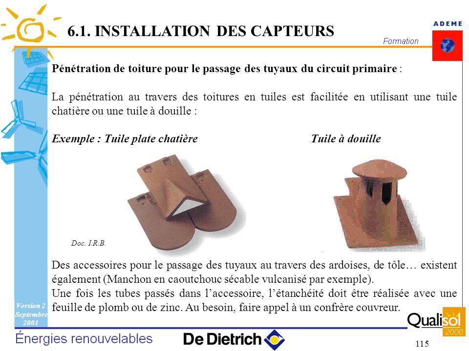 Version 2 Septembre 2001 115 6.1. INSTALLATION DES CAPTEURS Pénétration de toiture pour le passage des tuyaux du circuit primaire : La pénétration au