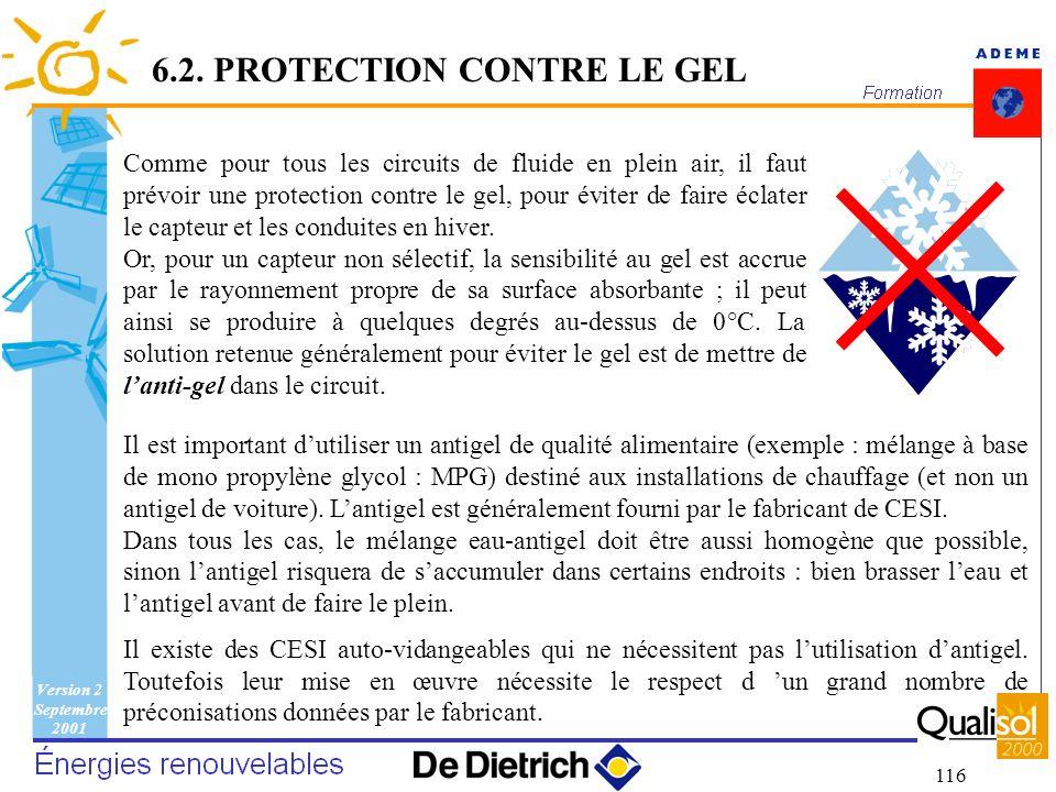 Version 2 Septembre 2001 116 Comme pour tous les circuits de fluide en plein air, il faut prévoir une protection contre le gel, pour éviter de faire é