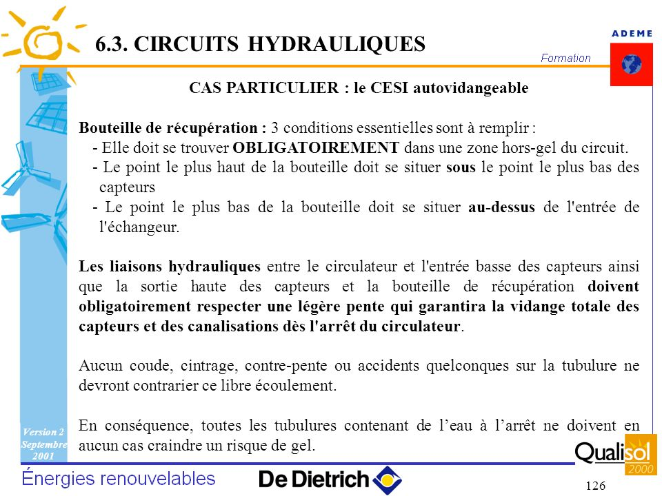 Version 2 Septembre 2001 126 6.3. CIRCUITS HYDRAULIQUES CAS PARTICULIER : le CESI autovidangeable Bouteille de récupération : 3 conditions essentielle