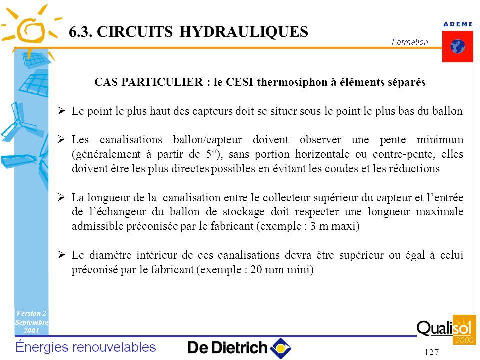 Version 2 Septembre 2001 127 CAS PARTICULIER : le CESI thermosiphon à éléments séparés Le point le plus haut des capteurs doit se situer sous le point