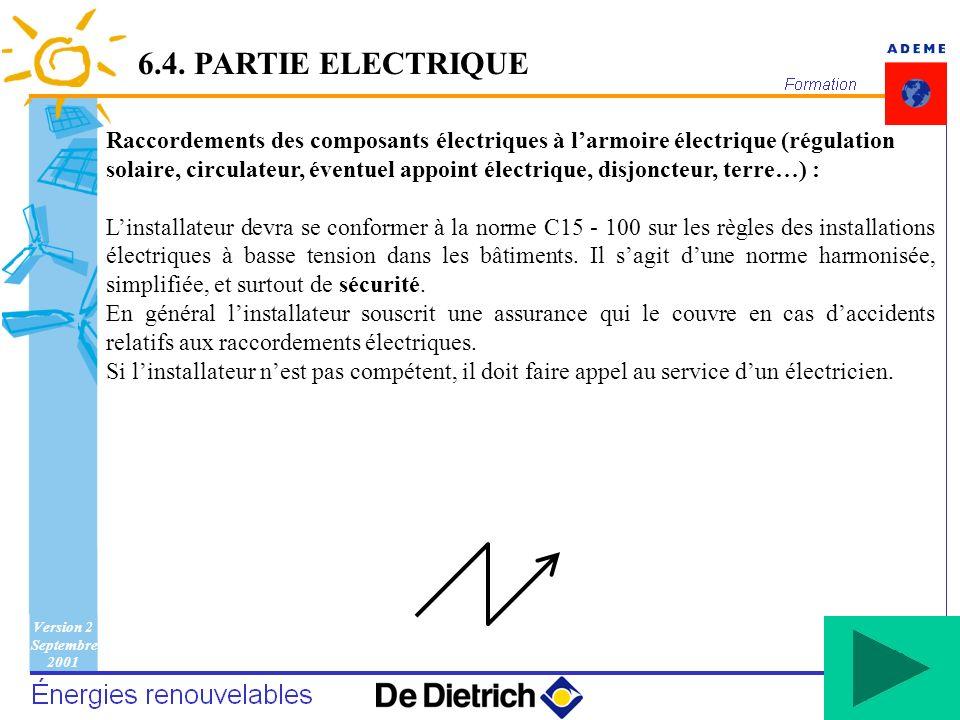 Version 2 Septembre 2001 128 Raccordements des composants électriques à larmoire électrique (régulation solaire, circulateur, éventuel appoint électri