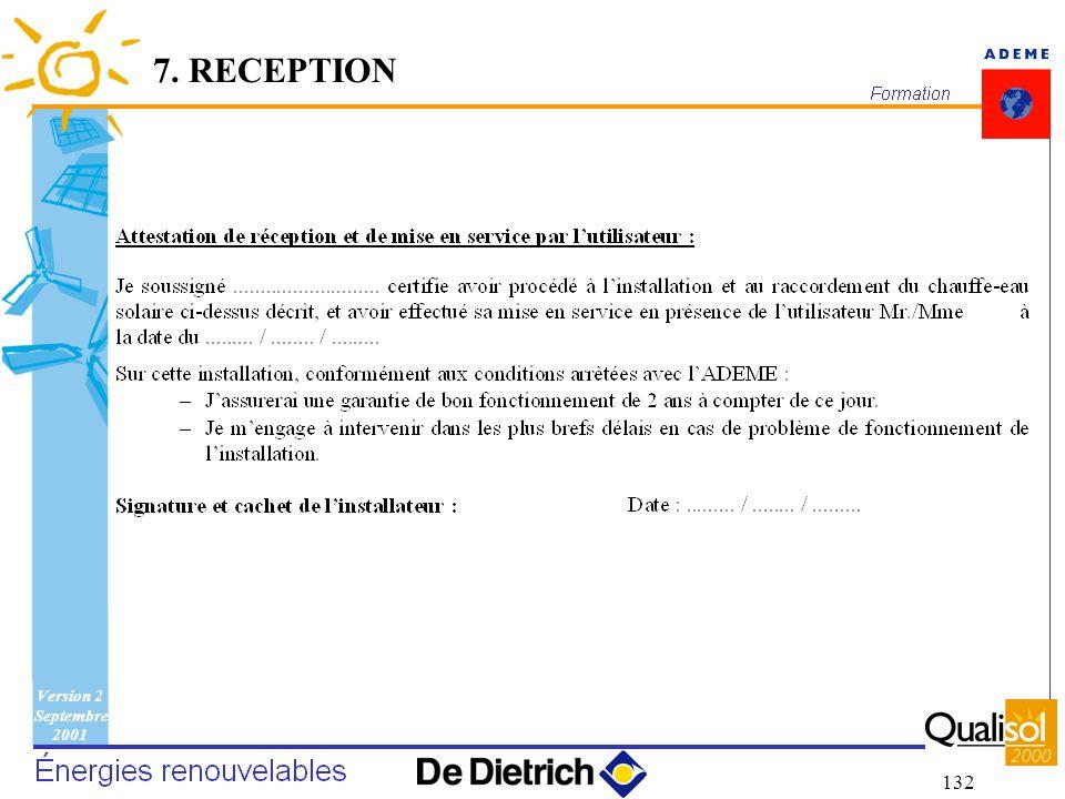 Version 2 Septembre 2001 132 7. RECEPTION