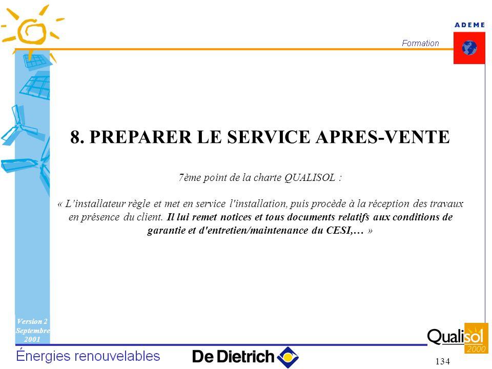 Version 2 Septembre 2001 134 8. PREPARER LE SERVICE APRES-VENTE 7ème point de la charte QUALISOL : « Linstallateur règle et met en service l'installat
