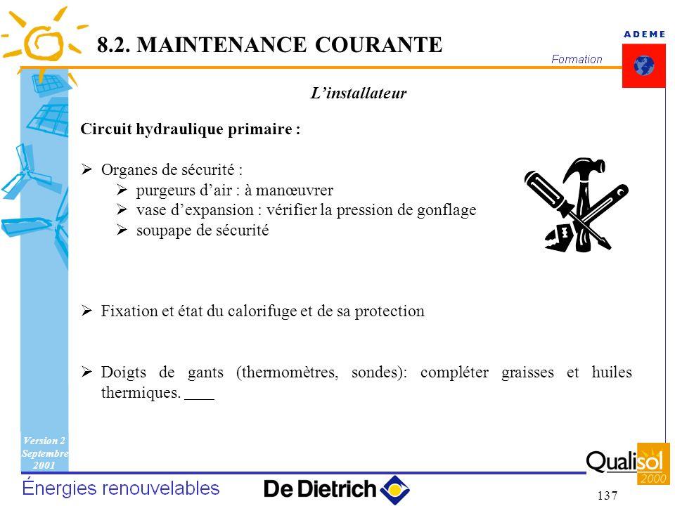 Version 2 Septembre 2001 137 Linstallateur Circuit hydraulique primaire : Organes de sécurité : purgeurs dair : à manœuvrer vase dexpansion : vérifier