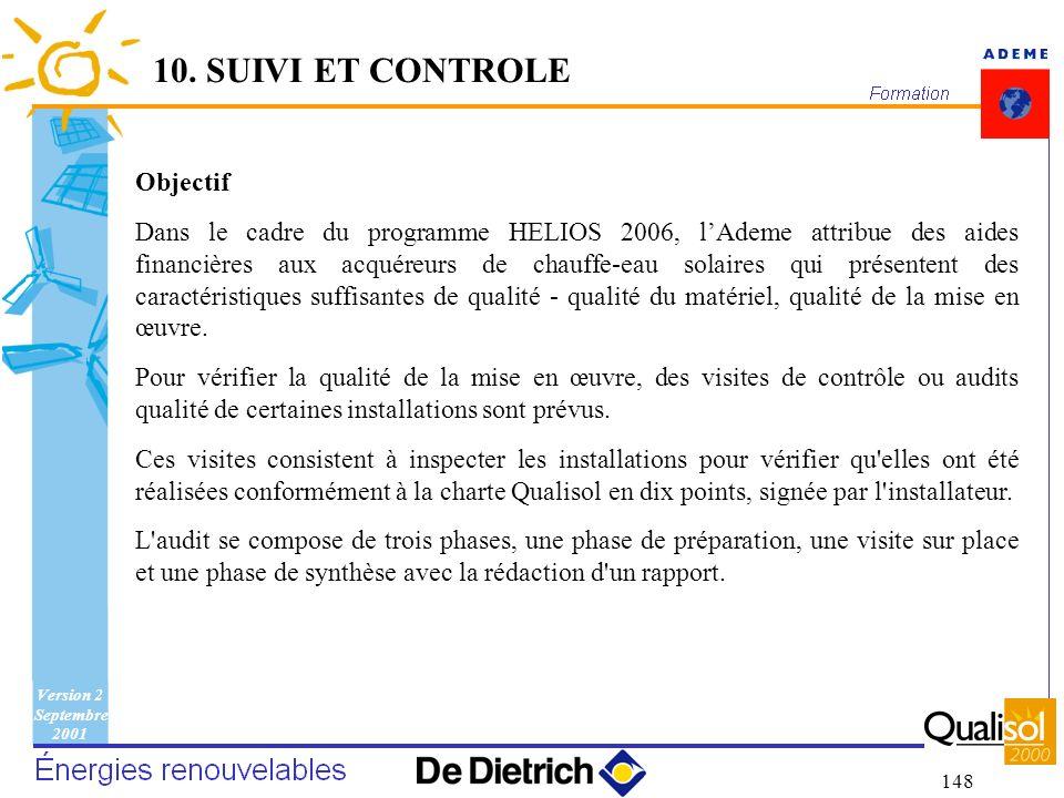 Version 2 Septembre 2001 148 Objectif Dans le cadre du programme HELIOS 2006, lAdeme attribue des aides financières aux acquéreurs de chauffe-eau sola