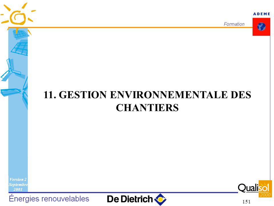 Version 2 Septembre 2001 151 11. GESTION ENVIRONNEMENTALE DES CHANTIERS