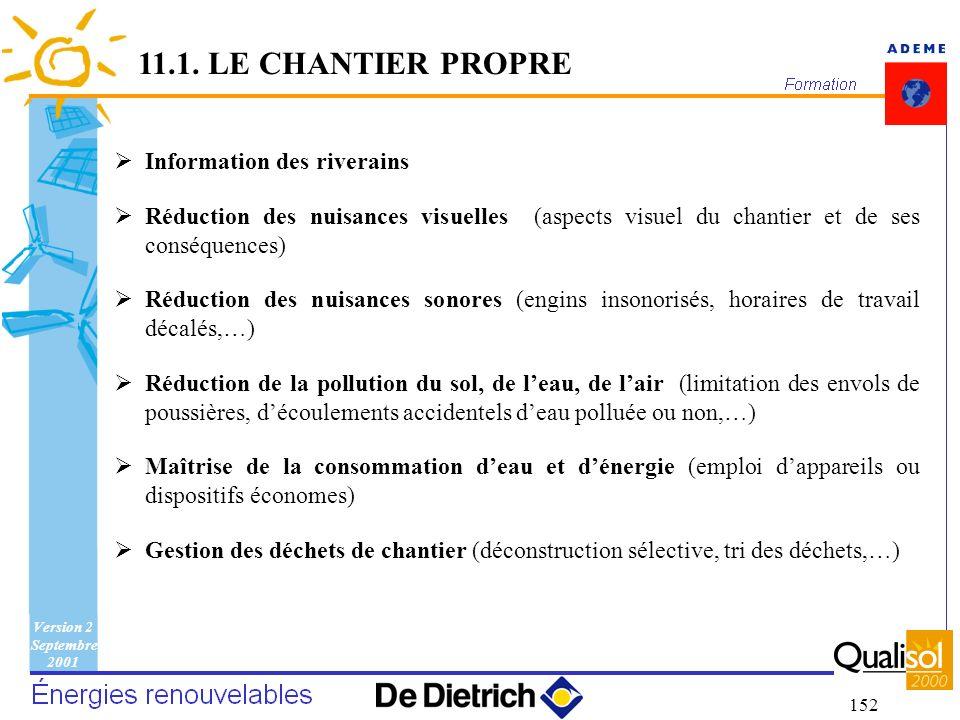 Version 2 Septembre 2001 152 Information des riverains Réduction des nuisances visuelles (aspects visuel du chantier et de ses conséquences) Réduction
