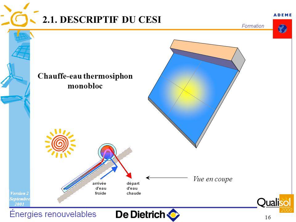 Version 2 Septembre 2001 16 Chauffe-eau thermosiphon monobloc Vue en coupe 2.1. DESCRIPTIF DU CESI