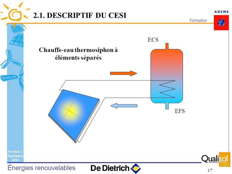 Version 2 Septembre 2001 17 2.1. DESCRIPTIF DU CESI EFS ECS Chauffe-eau thermosiphon à éléments séparés