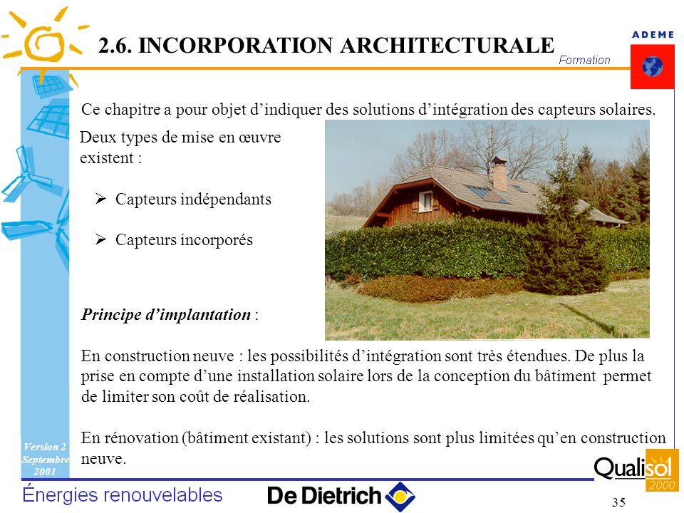Version 2 Septembre 2001 35 Ce chapitre a pour objet dindiquer des solutions dintégration des capteurs solaires. Principe dimplantation : En construct