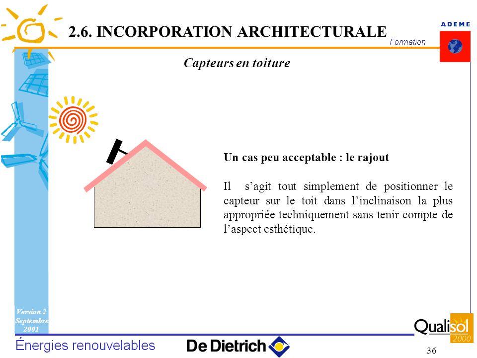 Version 2 Septembre 2001 36 Capteurs en toiture Un cas peu acceptable : le rajout Il sagit tout simplement de positionner le capteur sur le toit dans