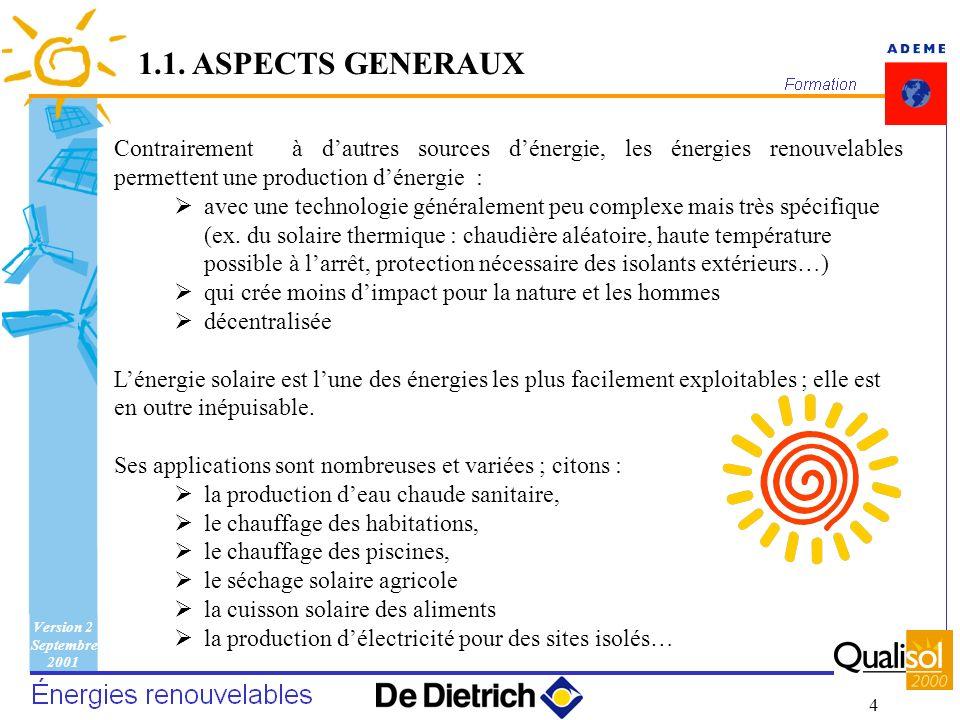 Version 2 Septembre 2001 4 Contrairement à dautres sources dénergie, les énergies renouvelables permettent une production dénergie : avec une technolo