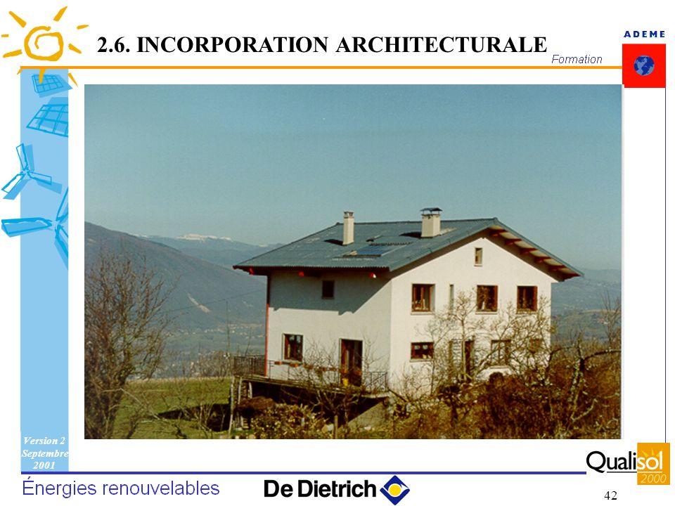 Version 2 Septembre 2001 42 2.6. INCORPORATION ARCHITECTURALE