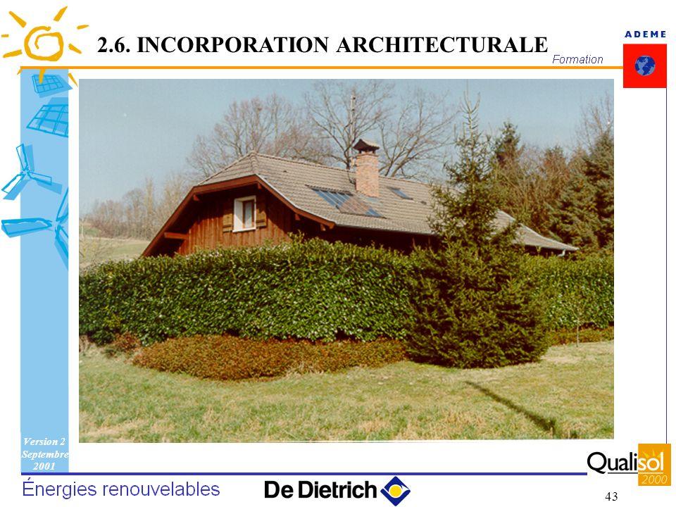 Version 2 Septembre 2001 43 2.6. INCORPORATION ARCHITECTURALE
