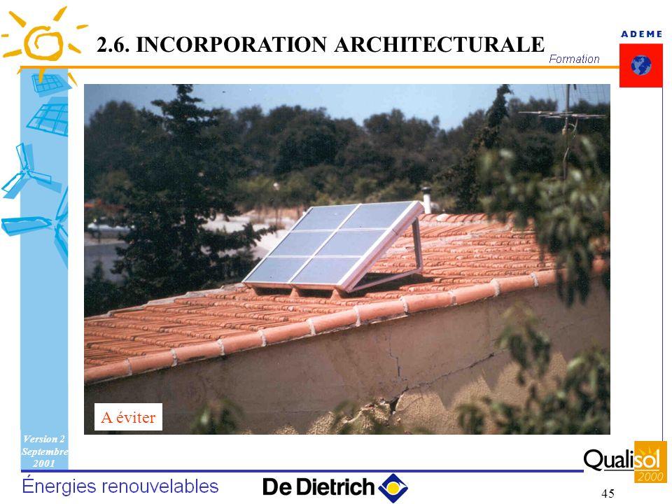 Version 2 Septembre 2001 45 A éviter 2.6. INCORPORATION ARCHITECTURALE